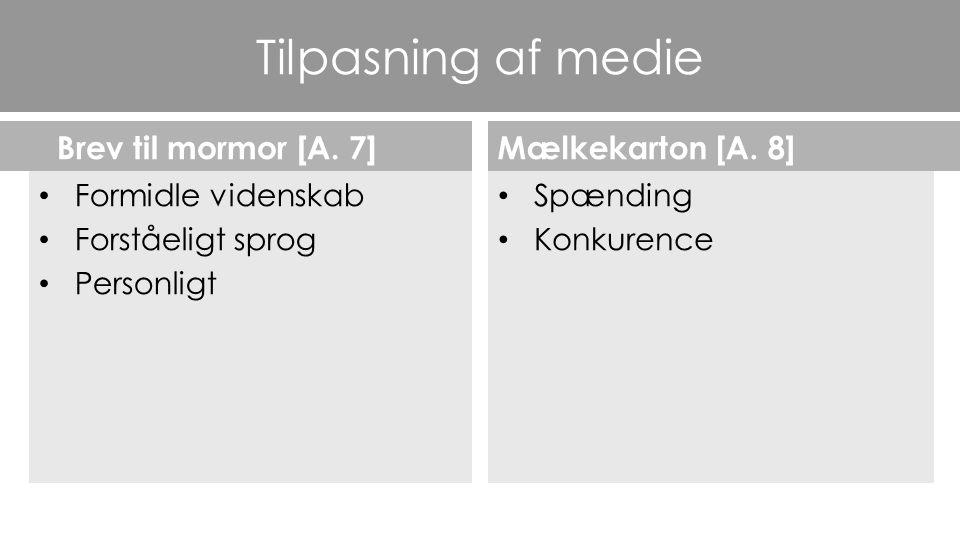 Tilpasning af medie Brev til mormor [A. 7] Mælkekarton [A. 8]